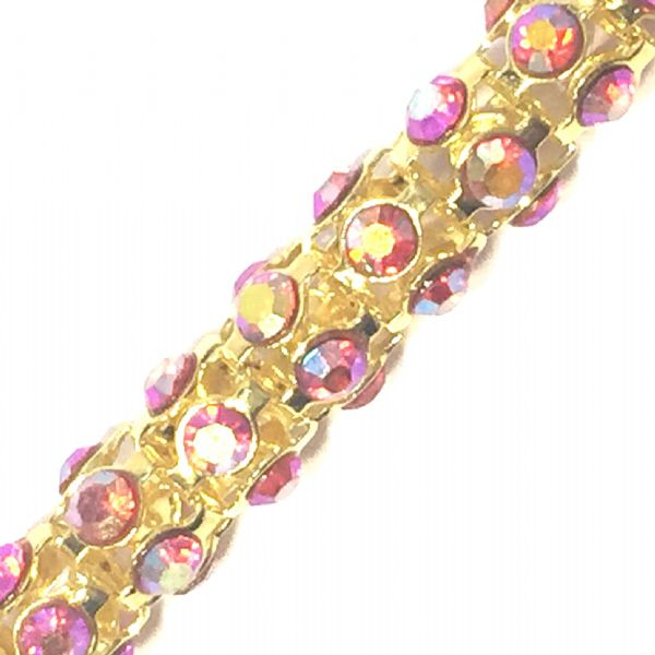 6mm Red AB rhinestone gold colour reticulated chain -- 1meter